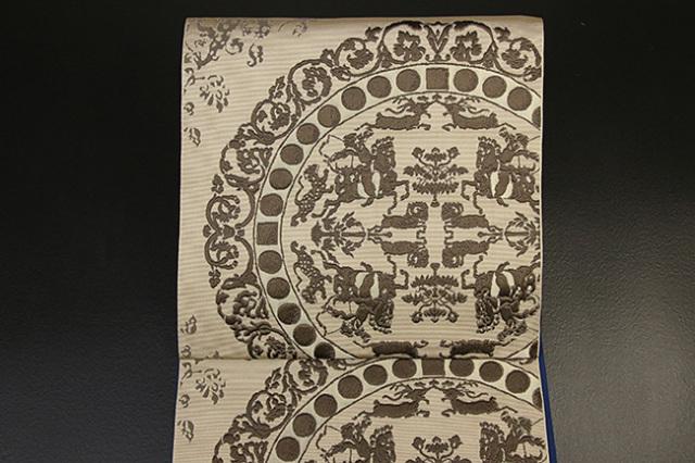 西村織物 博多織 正倉院文様 八寸名古屋帯 正絹 ベージュ お仕立て付き