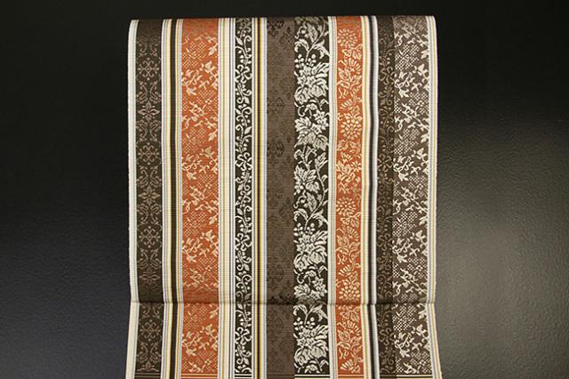 西村織物 博多織 什宝間道 八寸名古屋帯 正絹 茶×橙 お仕立て付き