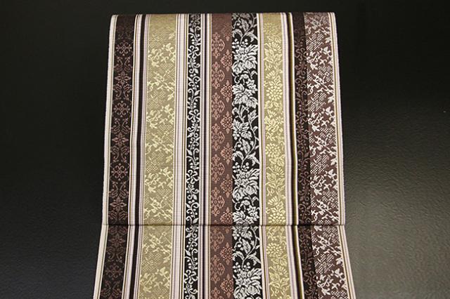 西村織物 博多織 什宝間道 八寸名古屋帯 正絹 茶×黄 お仕立て付き