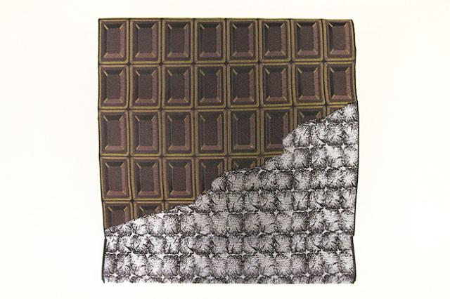 博多織 正絹 八寸名古屋帯 チョコレート お仕立付き