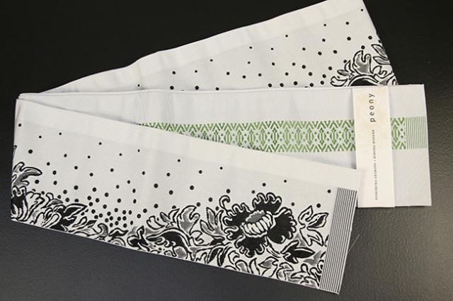 西村織物×KIMONO MODERN 博多織 正絹半幅帯 かがり仕立付 芍薬peony 白