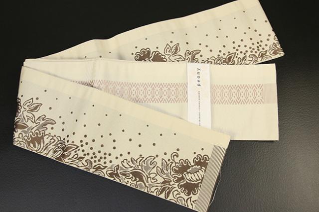 西村織物×KIMONO MODERN 博多織 正絹半幅帯 かがり仕立付 芍薬peony ベージュ