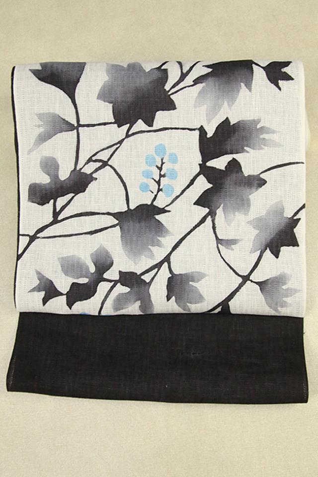 本麻染 手書き 八寸名古屋帯 正絹 お仕立て付き 白×黒 実と葉