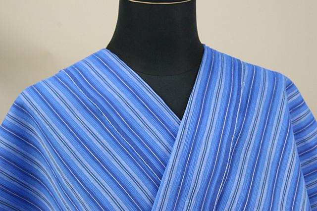 近江ちぢみ アイスコットン 夏物 綿麻 オーダーお仕立て付き ストライプ 青 ◆男女兼用◆