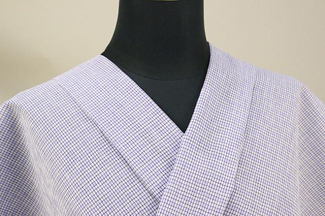近江ちぢみ アイスコットン 夏物 綿麻 オーダーお仕立て付き 格子 紫×白◆男女兼用◆