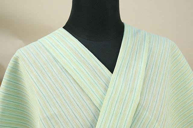 近江ちぢみ アイスコットン 夏物 綿麻 オーダーお仕立て付き ストライプ 薄緑 ◆男女兼用◆