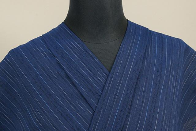近江ちぢみ アイスコットン 夏物 綿麻 オーダーお仕立て付き ストライプ 紺 ◆男女兼用◆