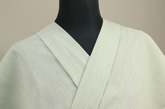 近江ちぢみ アイスコットン 夏物 綿麻 オーダーお仕立て付き ボーダー 緑×白◆男女兼用◆