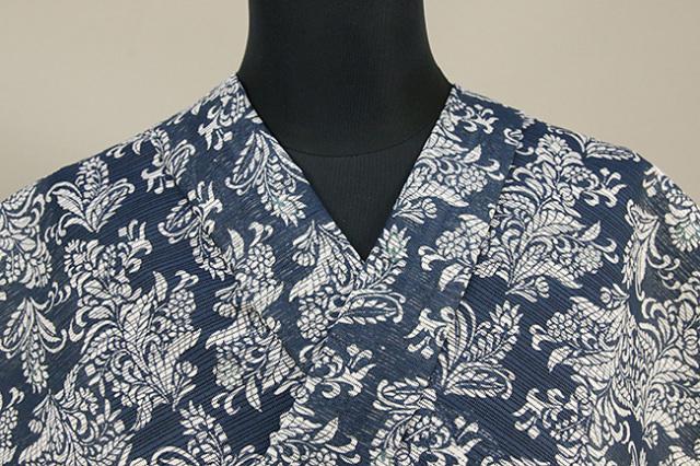 江戸長板 綿麻乱絽 豆引染 オーダー仕立て付き IKS 衣草紙  藍色 女性にオススメ