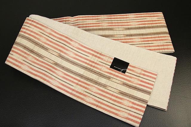 IKS 半幅帯 麻絣小袋帯 ベージュ×ピンク ストライプ