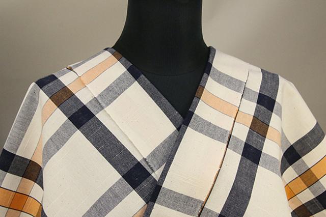 伊勢木綿 木綿着物 オーダーお仕立て付き チェック 生成色×紺×橙 ◆背の高い人にオススメ◆