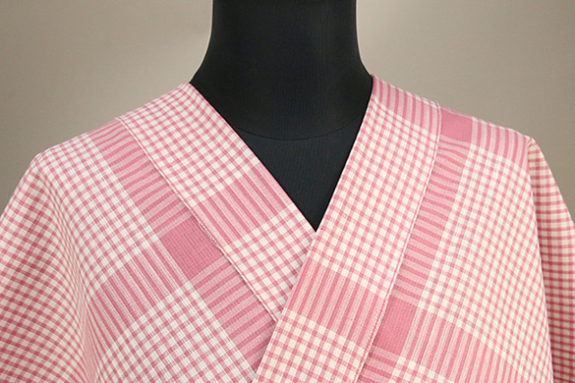 片貝木綿 紺仁工房 木綿着物 オーダーお仕立て付き 普段着きもの チェック ピンク ◆男女兼用◆