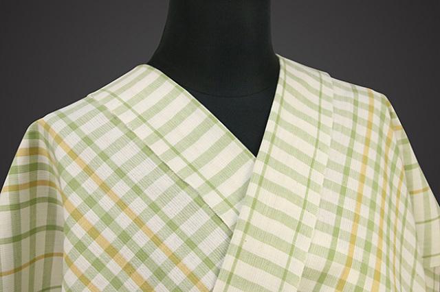 片貝木綿 紺仁工房 木綿着物 オーダーお仕立て付き 普段着きもの チェック 緑×白×黄 ◆男女兼用◆