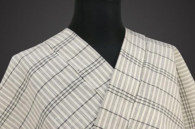 片貝木綿 紺仁工房 木綿着物 オーダーお仕立て付き 普段着きもの チェック 白×灰 ◆男女兼用◆