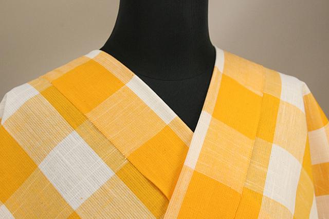 片貝木綿 紺仁工房 木綿着物 オーダーお仕立て付き 普段着きもの チェック 白×黄 ◆男女兼用◆