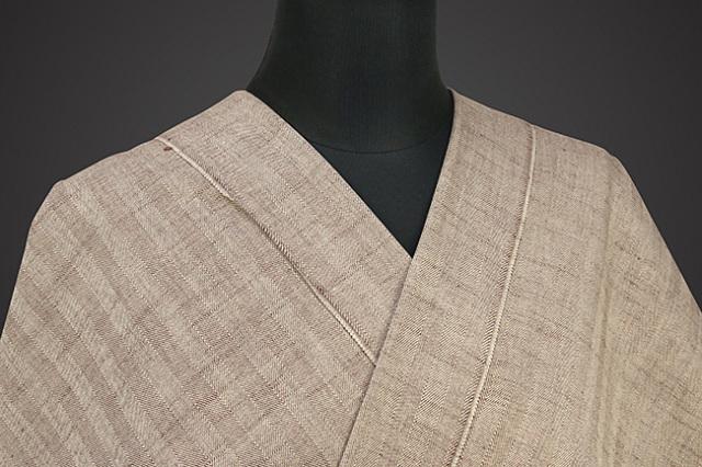 紺仁 杉綾 片貝木綿 オーダーお仕立て付き 茶×薄ベージュ
