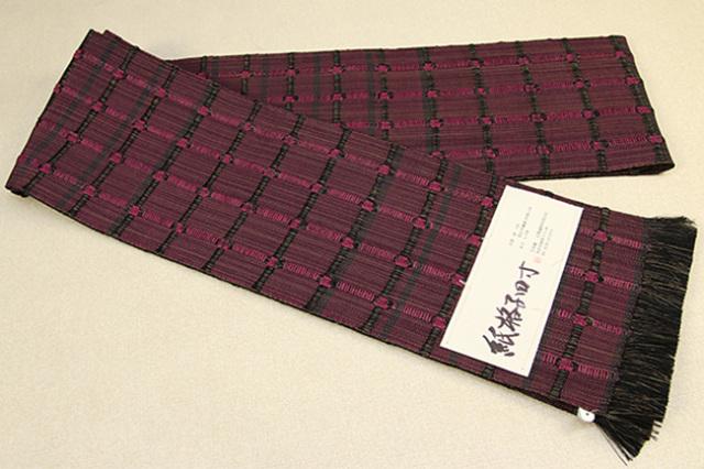 近賢織物 半幅帯 紙格子四寸 赤紫