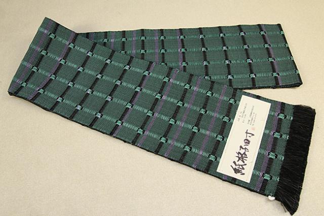 近賢織物 半幅帯 紙格子四寸 緑