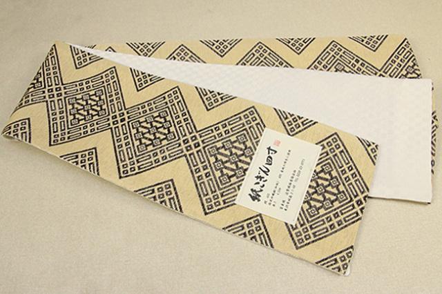 近賢織物 半幅帯 紙こぎん四寸 ひし形 リバーシブル ベージュ×黒