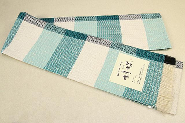 近賢織物 宝来織 胡蝶 半幅帯 正絹 白×青緑