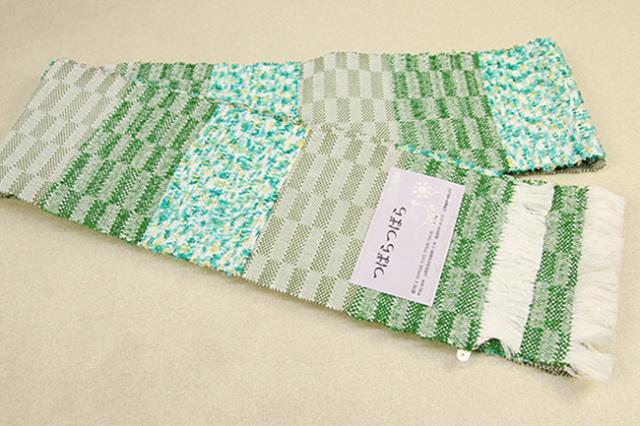 近賢織物 半幅帯 つばらつばら ストライプ 緑系