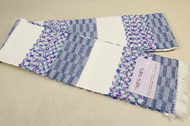 近賢織物 半幅帯 つばらつばら ストライプ 紫系
