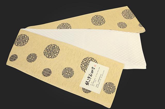近賢織物 半幅帯 紙こぎん四寸 水玉 リバーシブル ベージュ×こげ茶 市松白