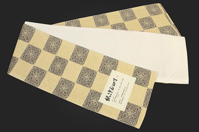 近賢織物 半幅帯 紙こぎん四寸 市松 リバーシブル ベージュ×黒
