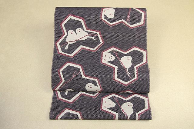 いまのいろ skala 絹和紙八寸帯 シマエナガ 黒×赤 かがり仕立付き