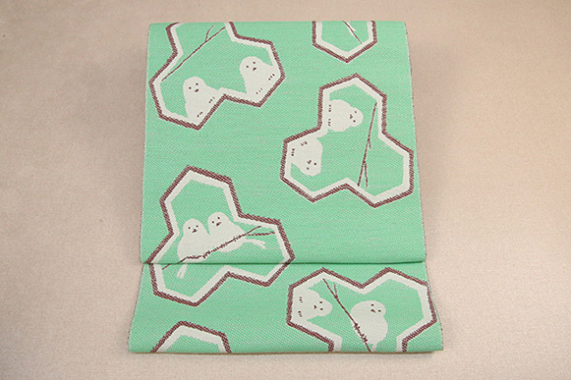 いまのいろ skala 絹和紙八寸帯 シマエナガ 青緑×茶 かがり仕立付き
