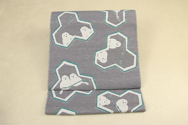 いまのいろ skala 絹和紙八寸帯 シマエナガ 黒×緑 かがり仕立付き