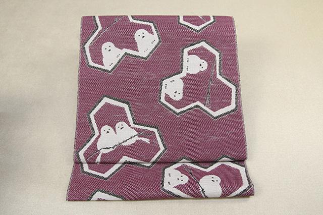 いまのいろ skala 絹和紙八寸帯 シマエナガ 赤×黒 かがり仕立付き