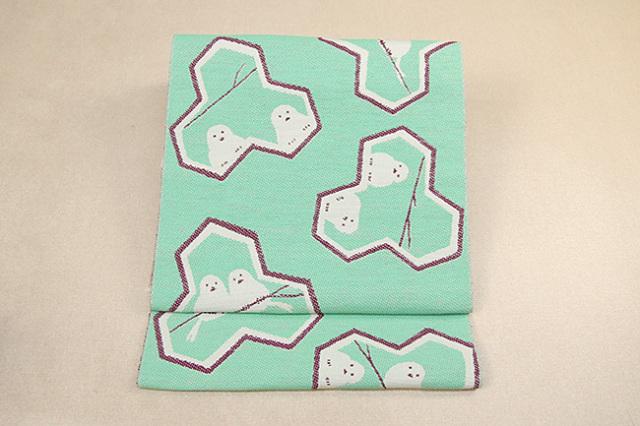 いまのいろ skala 絹和紙八寸帯 シマエナガ 青緑×赤茶 かがり仕立付き