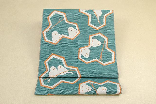 いまのいろ skala 絹和紙八寸帯 シマエナガ 緑×橙 かがり仕立付き