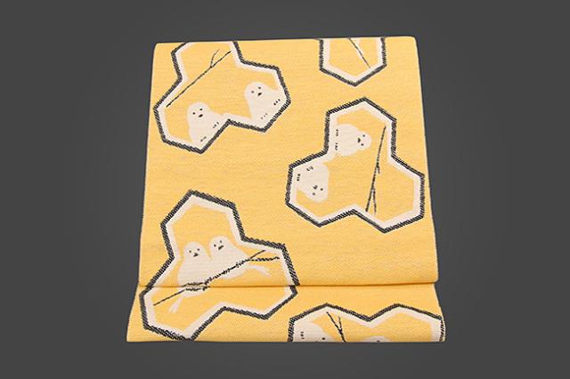 いまのいろ skala 絹和紙八寸帯 シマエナガ 黄×黒 かがり仕立付き