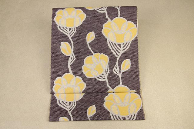 いまのいろ skala 絹和紙八寸帯 つるバラ 茶×黄 かがり仕立付き