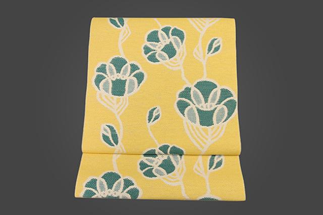 いまのいろ skala 絹和紙八寸帯 つるバラ 黄×緑 かがり仕立付き