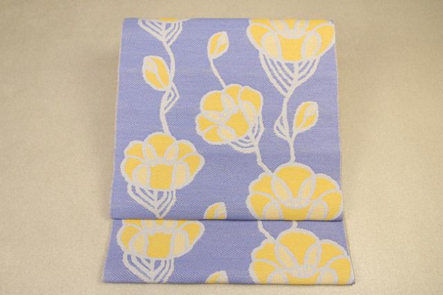 いまのいろ skala 絹和紙八寸帯 つるバラ 青紫×黄 かがり仕立付き
