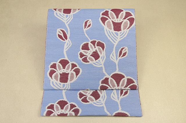 いまのいろ skala 絹和紙八寸帯 つるバラ 青紫×赤茶 かがり仕立付き