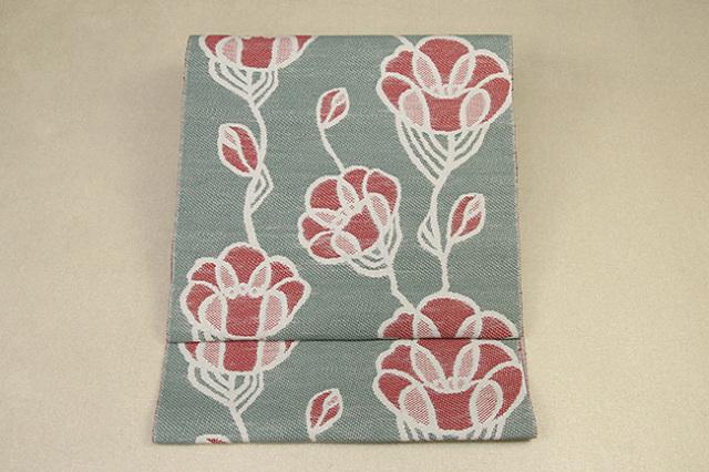 いまのいろ skala 絹和紙八寸帯 つるバラ 薄緑×赤 かがり仕立付き