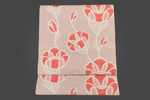 いまのいろ skala 絹和紙八寸帯 つるバラ 薄赤×橙 かがり仕立付き