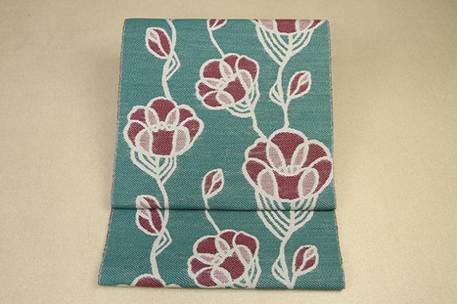 いまのいろ skala 絹和紙八寸帯 つるバラ 緑×赤茶 かがり仕立付き