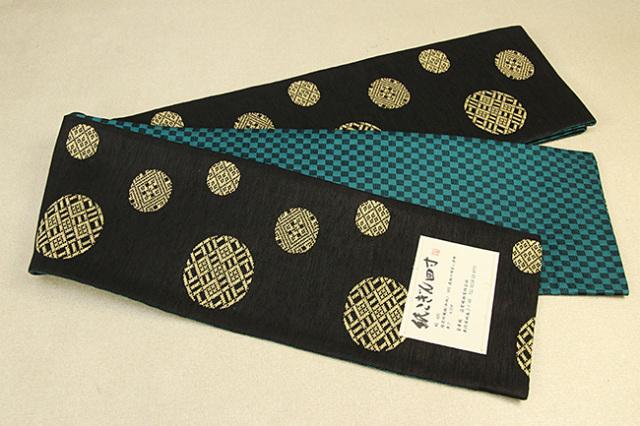 米沢織 近賢織物 半幅帯 紙こぎん四寸 水玉 リバーシブル ベージュ×こげ茶 市松緑