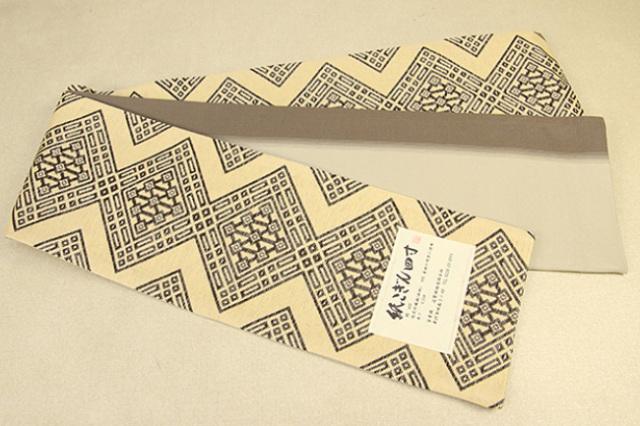 米沢織 近賢織物 半幅帯 紙こぎん四寸 ひし形 リバーシブル ベージュ×茶 2色ぼかし