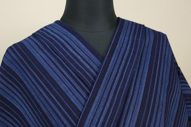 御絲織物 松阪木綿 オーダーお仕立て付き ストライプ 青×紺
