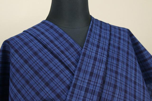 御絲織物 松阪木綿 オーダーお仕立て付き チェック 青×紺