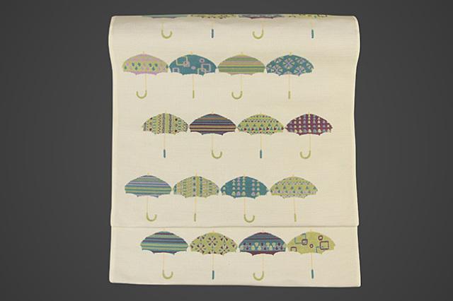 京都小泉 召しませ花 九寸名古屋帯 傘 絹 お仕立付き