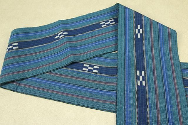 ミンサー 木綿 半幅帯 八重山 沖縄 濃青緑