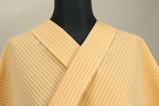夏のKIPPE(きっぺ) 涼しま よねざわもめん 綿麻 オーダーお仕立て付き 薄橙 ◆男女兼用◆