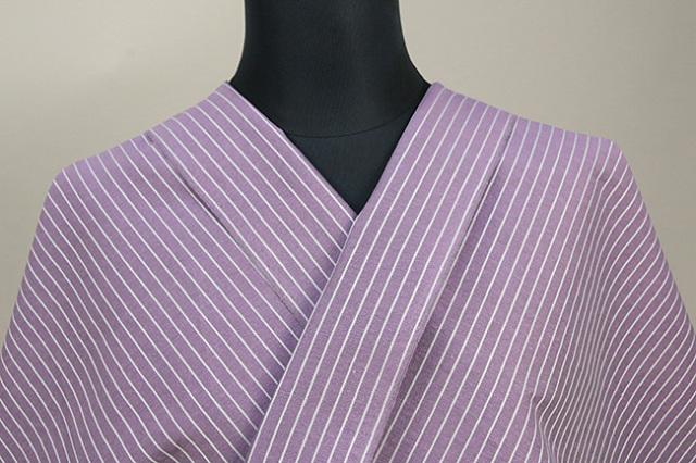 夏のKIPPE(きっぺ) 涼しま よねざわもめん 綿麻 オーダーお仕立て付き 紫 ◆男女兼用◆